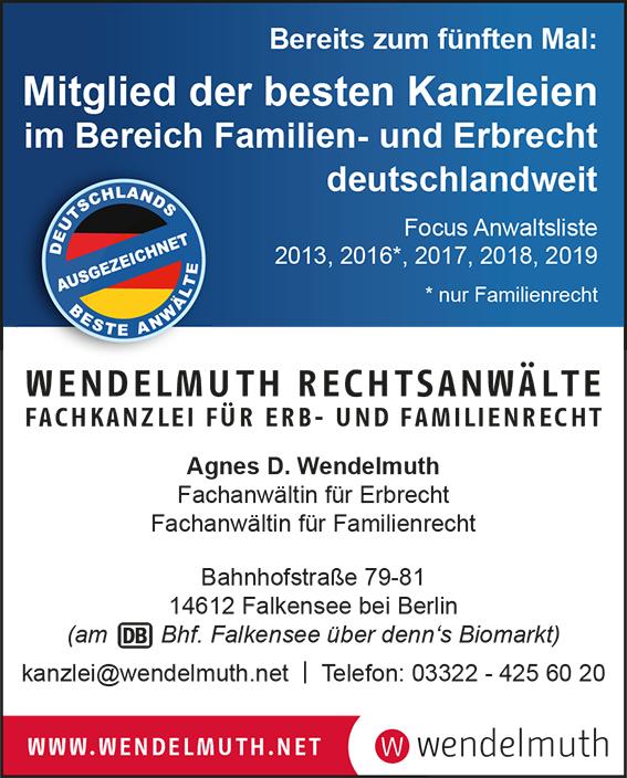 FOCUS 2019 beste Anwälte Wendelmuth