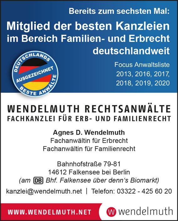 Focus Anwaltsliste - Wendelmuth wieder gelistet